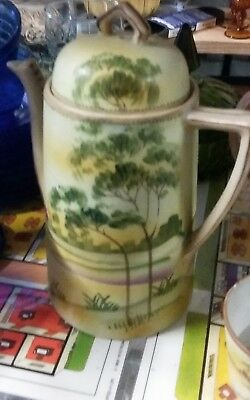 """Noritake Coffee Cocoa TeaPot Tree in the Meadow Handpainted  9.5"""" Tall & 2 CUPS"""