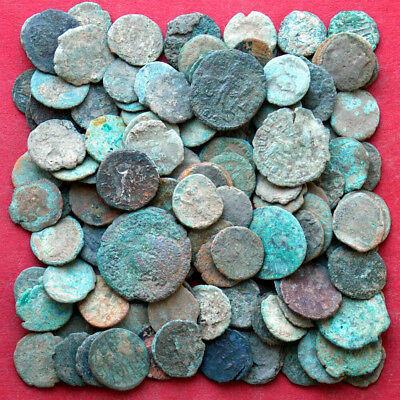 Lots of 120 uncleaned Maiorina AE3 AE4 Poor Junk - ancient Roman coins