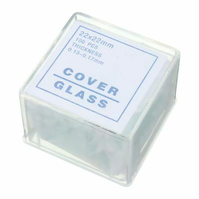 100pcs Transparent Slides Coverslips Coverslides 22x22mm For Microscope T2Y W5I6