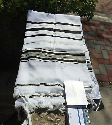 "Kosher Long Tallit Talit Prayer Shawl Black / Gold Stripes in Size 43.3""X62.9"""