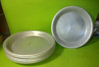 """Lot of 10 Commercial heavy duty Aluminum Pie Pan Plate 10"""" Dia. 1 1/4"""" deep used"""