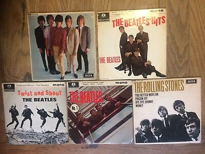 the Beatles No 1 ep  uk 1963  parlophone label  gep 8883 + Rolling Stones 45s