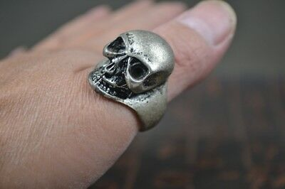 collection Chinese miao silver carving skull ring