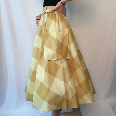 Vintage 70s Mustard Yellow Check Long Prairie Cowboy Western Skirt Pockets 8