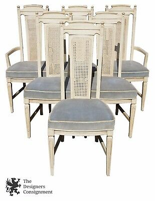 6  Mid Century Stanley Furniture Cane Back Dining Chairs Provincial Blue Seat
