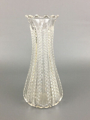 Antique Victorian Duncan & Miller clear pressed glass vase MARDI GRAS  c.1894