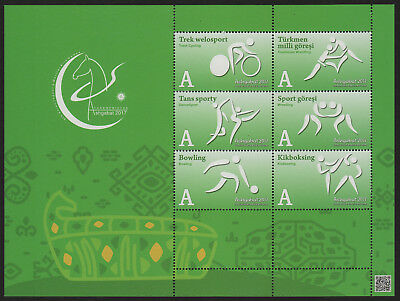 Turkmenistan, Asian Games 2017,  Block of 6 sport pictographs,