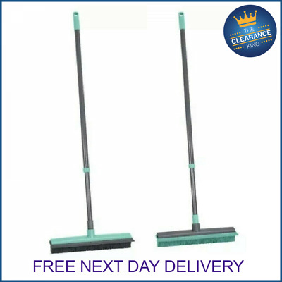 JVL rubber brush/squeegee bristle brush broom extendable handle new