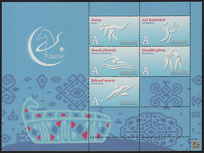 Turkmenistan, Asian Games 2017,  Block of 5 sport pictographs, blue
