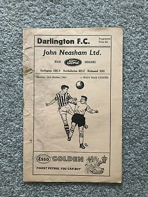 West Ham Programme Football League Cup 1960 - Darlington Away 24/10/1960