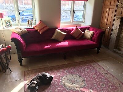 Victorian show wood sofa/settle, very large & re-upholstered