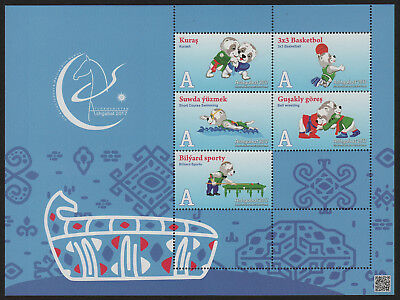 Turkmenistan, Asian Games 2017,  Block of 5  talisman sketches, blue