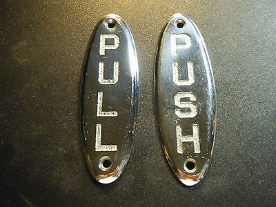 Vintage White Brass push and pull door plaques