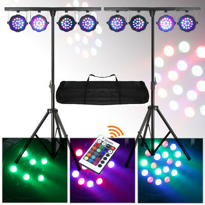 2x BeamZ PARBAR 4-Way Wash Kit 18x 1W RGB LEDs DMX Lighting Stands UK Stock