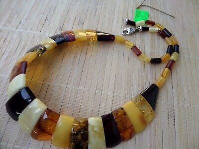 Natural Baltic Amber Honey Cognac Cherry multicolored beads Necklace