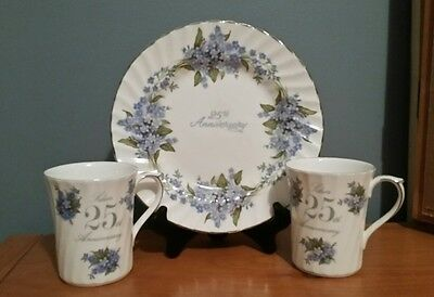 """Bone China tea cups and 8"""" plate 25th Anniversary - Floral Blue Gift Collectable"""