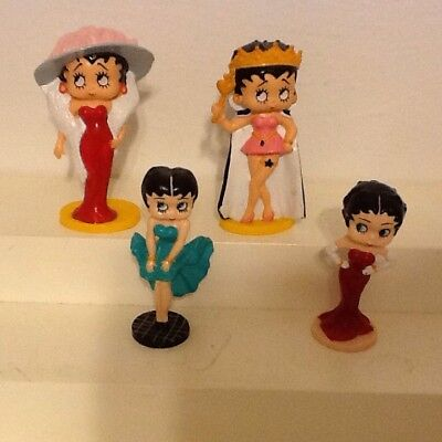 Betty Boop Pvc Figures 1990 Lot Of 4: Miss America,Red Gown(2) Green Dress