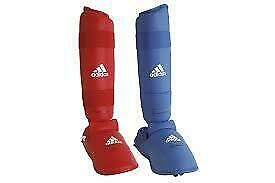 NEW Adidas Shin Guard - WKF Approved Karate Shin Instep Protector RED or BLUE