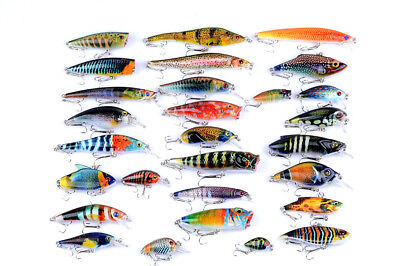 New 28pcs Mixed Lot Paint Color Fishing Lures Minnow Crank Poper VIB Bait Tackle