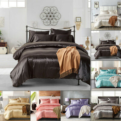 1800 Count Ice Silk Satin King Queen Twin  Quilt Cover Set Fitted Bed Sheet Set
