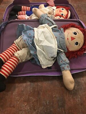 raggedy ann and andy lot in vintage case