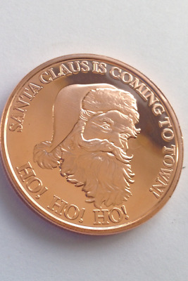 FREE POST  1oz copper Santa Claus is coming to town HoHoHo  FREE POST