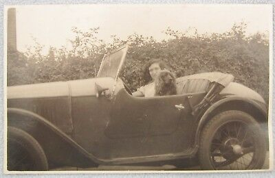 Real Photo Postcard Lady Driving Car with Cocker Spaniel Dog Roadster