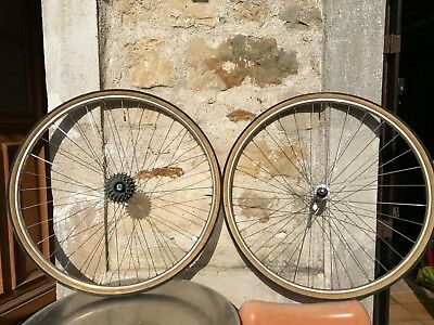 Mavic Gold Wheelset road bike paire roue boyaux Or maillard 5 speed Rare France