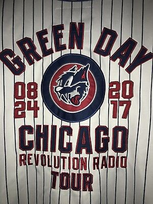 Green Day Chicago Cubs Wrigley Field 2017 Concert Baseball Jersey Size SMALL