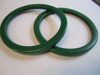 Vintage Pair of Green Bakelite Bracelets (Pair, 2, Two)
