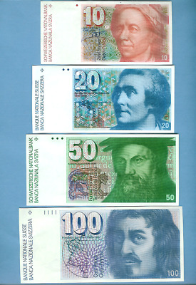 Uncirculated Set of 4 Swiss Banknotes from Collection.  1977 -1980 Crisp, Clean