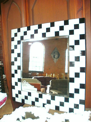 Large Square Black And White Tiled Framed  Overmantle Mirror