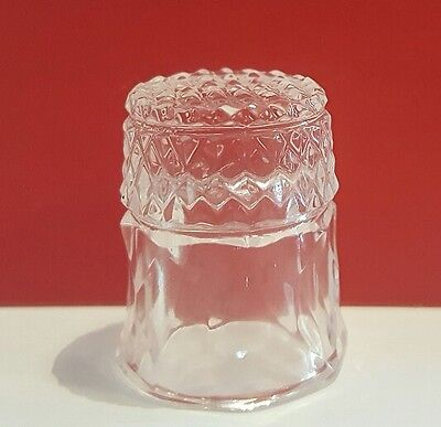 Beautiful Vintage Hand cut Cut Crystal Clear Glass Thimble