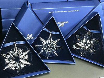 Swarovski Large Annual Edition Christmas Ornament 2007 to 2009 Set MIB