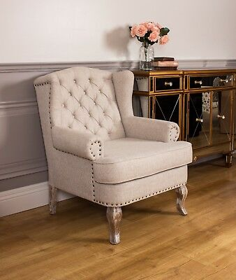 Wingback Fireside Armchair Nursing Queen Ann Oak Cream Linen Beige Upholstered