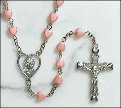 Pink Heart Rosary NEW (TS294) 21 Inches long