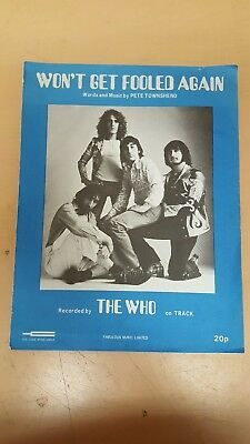 Vintage The Who : Won't Get Fooled Again Music Sheet 1971 Daltrey Townshend
