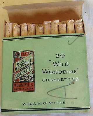 vintage collectable  wills wild woodbines  20 cigarette  packet + contents