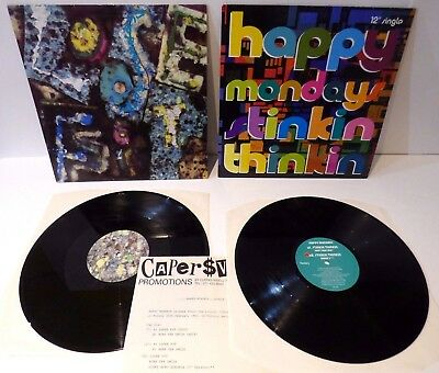 "HAPPY MONDAYS / job lot STINKIN THINKIN & LOOSE FIT 2x12"" singles in pic sleeves"