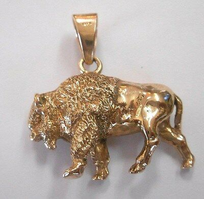 "Vintage 14K Solid Cast Gold HEAVY ""BUFFALO"" BISON  PENDANT -  24.2 Grams"