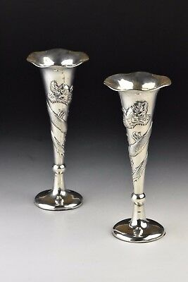 Pair Signed Tuck Chang Antique Chinese Export Silver Vases with Dragons