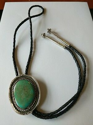 Large Navajo Sterling Turquoise Bolo Tie