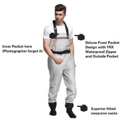 Mens Beige 100% Waterproof Breathable Wader Stocking Foot Adjustable Suspenders