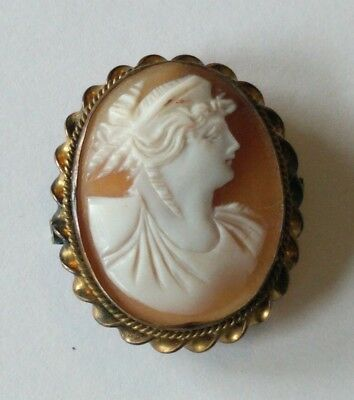 Antique Gold Filled Carved Shell Cameo Pin Pendant