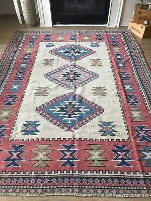 "VINTAGE WOOL TURKISH HAND-MADE RUG, 7'10""x 5'11"" FREE SHIPPING!!!"
