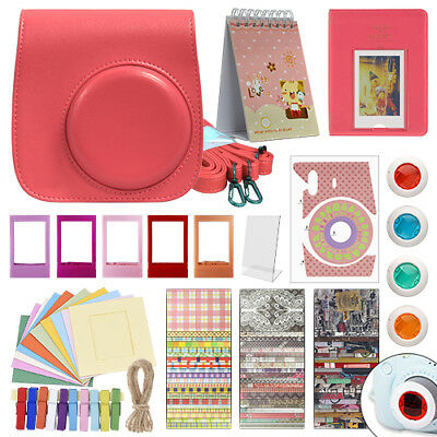 Deluxe Stylish Fun Accessory Kit for Fujifilm Instax Mini 9 Camera Flamingo Pink