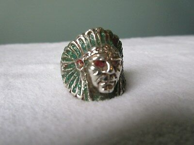 Old Handmade Indian Head Headdress Ring Sterling Silver Sz 11