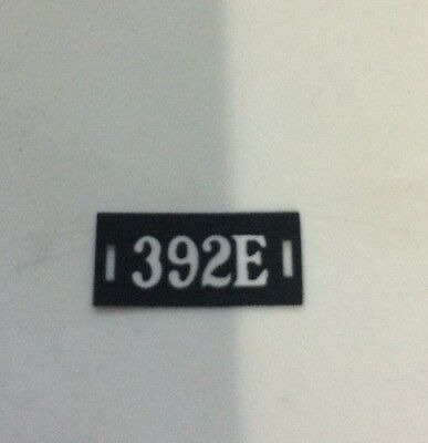 Lionel Mth Prewar 392E Number Board Name Plate Actual Part Manufactured By Mth
