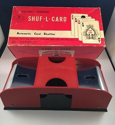Vtg Battery Powered Automatic Card Shuffler SHUF-L-CARD by WACO Japan, Metal FUN