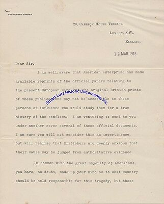 Canadian poet Gilbert Parker signed letters re US help in WW1 - 1915 & 1916